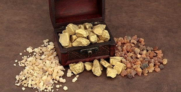 myrrh, gold, and frankincense